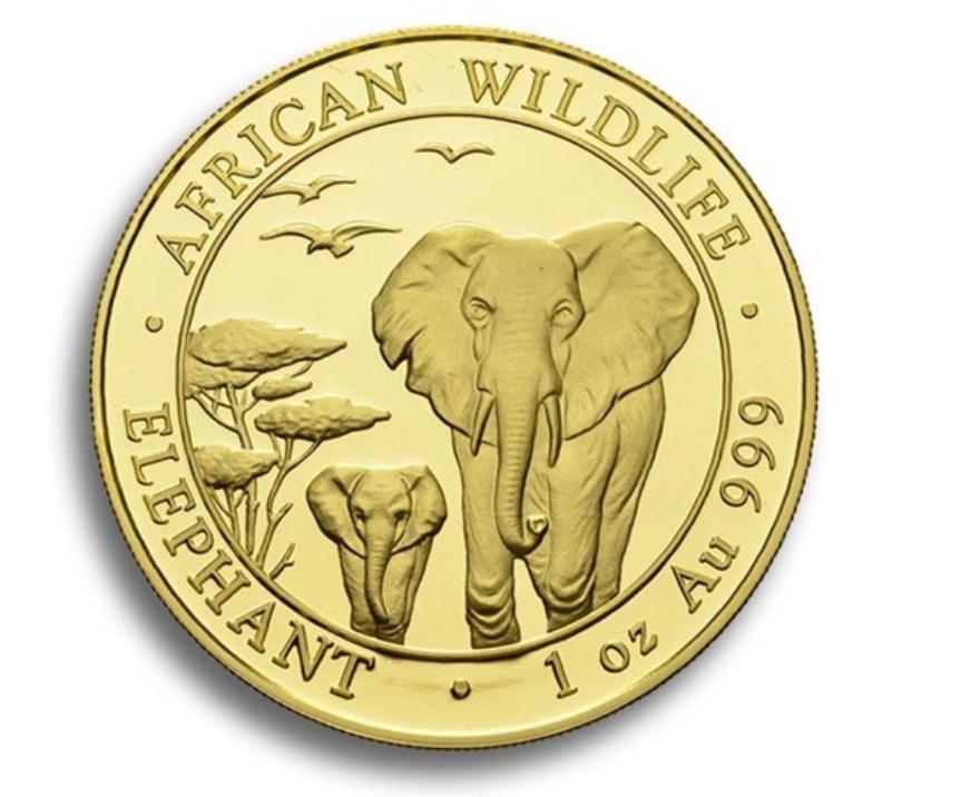 Somalia Gold Elephant Coins
